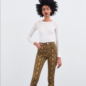 Zara Animal Snake print skinny jeans